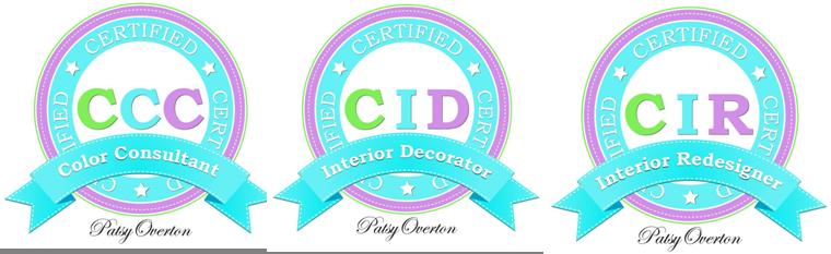 Patsy Overton Interiors certification badges - CCC, CID, CIR