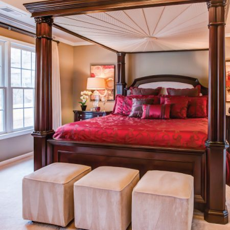 decorating with red bedding in taupe room